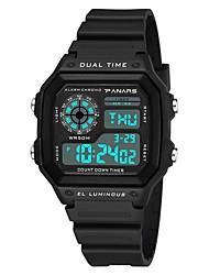 Недорогие -Муж. Спортивные часы электронные часы Японский Цифровой силиконовый Черный / Белый 30 m Защита от влаги Календарь С двумя часовыми поясами Цифровой Мода - Белый Черный / Хронометр / Фосфоресцирующий