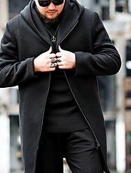 Недорогие -Муж. Повседневные Классический Большие размеры Длинная Пальто, Однотонный Воротник-стойка Длинный рукав Шерсть / Хлопок Черный