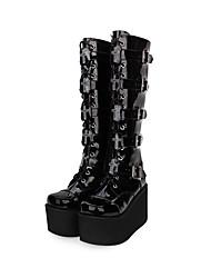 billiga -Punk Gotiskt Kilklack Skor Enfärgad 10 cm CM Svart Till PU-läder / Polyuretan Läder Konstläder Halloweenkostymer