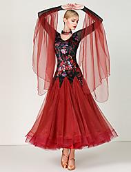 baratos -Dança de Salão Vestidos Mulheres Treino / Espetáculo Organza / Tule / Pelúcia Estampa / Combinação Manga Longa Alto Vestido / Neckwear