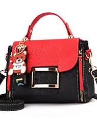 baratos -Mulheres Bolsas PU Bolsa de Ombro Estampa Colorida Vermelho / Cinzento / Vermelho Preto
