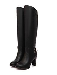Недорогие -sw 5050 женщин pu (полиуретан) зимние сапоги короткая пятка закрытые носки коленные сапоги черный / коричневый / хаки