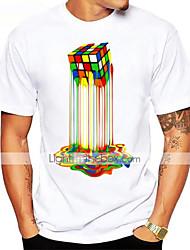 Недорогие -Муж. Спорт С принтом Футболка Хлопок, Круглый вырез Классический Графика Кубик Рубика