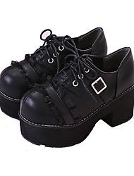 Недорогие -Старинный Классика Блочная пятка Туфли Сплошной цвет 5-8 cm См Черный Назначение Жен. Кожа PU Костюмы на Хэллоуин