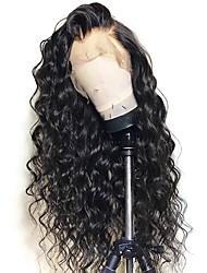 Недорогие -человеческие волосы Remy Полностью ленточные Лента спереди Парик Бразильские волосы Естественные кудри Свободные волны Черный Парик Ассиметричная стрижка 150% Плотность волос / Природные волосы