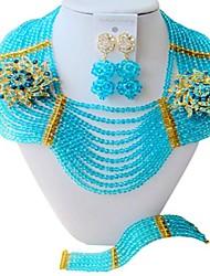 Недорогие -Жен. Многослойный Комплект ювелирных изделий Австрийские кристаллы Дамы, Мода, африканец Включают Струнные ожерелья Синий / Ярко-розовый / Светло-коричневый Назначение Для вечеринок / Серьги