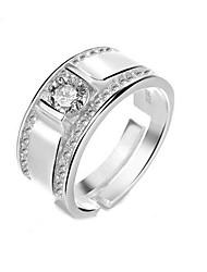 baratos -Homens Prata Clássico Anel - Estrela Luxo Ajustável Prata Para Casamento Festa