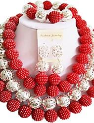 Недорогие -Жен. Многослойность Комплект ювелирных изделий - Мода Включают Струнные ожерелья Лиловый / Красный / Ярко-розовый Назначение Для вечеринок