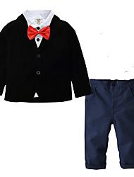 Недорогие -Дети Дети (1-4 лет) Мальчики Активный Классический Для вечеринок Повседневные Однотонный Полоски Длинный рукав Обычный Обычная Хлопок Набор одежды Темно синий