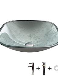 Недорогие -умывальник для ванной / смеситель для ванной / монтажное кольцо для ванной Современный - Закаленное стекло Квадратный