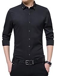 Недорогие -Муж. Офис Вышивка Большие размеры - Рубашка Деловые / Классический Однотонный / Длинный рукав / Лето