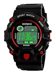 Недорогие -Муж. Спортивные часы электронные часы Японский Цифровой силиконовый Черный 30 m Защита от влаги Будильник Календарь Цифровой Мода - Черный / Красный Черный / Синий / Секундомер / Хронометр