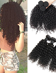 Недорогие -3 Связки Бразильские волосы Перуанские волосы Кудрявый Kinky Curly 8A Натуральные волосы Необработанные натуральные волосы Подарки Фотография Человека ткет Волосы 8-28 дюймовый Естественный цвет