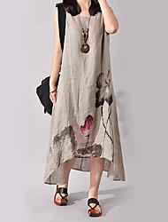 Недорогие -Жен. Большие размеры Шинуазери (китайский стиль) Хлопок Платье - Цветочный принт, С принтом Ассиметричное / Свободный силуэт