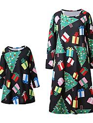 Недорогие -Мама и я Активный Рождество / Повседневные Животное Длинный рукав Полиэстер Платье Черный