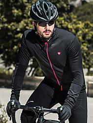 Недорогие -SANTIC Муж. Велокофты Велоспорт Джерси / Верхняя часть С защитой от ветра, Флисовая подкладка, Дышащий Однотонный Эластан Черный Одежда для велоспорта / Эластичная / Сохраняет тепло / Сохраняет тепло