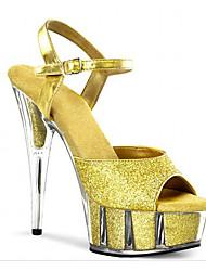 baratos -Mulheres Sapatos Materiais Customizados Primavera / Verão Inovador / Sapatos clube / Shoe transparente Saltos Salto Agulha Cristais /