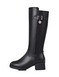 Недорогие -sw 5050 женщин pu (полиуретан) падение& зимние сапоги коренастый каблук круглый носок колено высокие сапоги черный / вечеринка& вечер