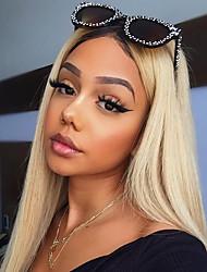 voordelige -Onbehandeld haar Mensen Remy Haar 360 Frontale Pruik Avril stijl Peruaans haar Recht Blond Pruik 150% Haardichtheid met babyhaar Zijdeachtig Ombre-haar Donkere wortels Natuurlijke haarlijn Blond Dames