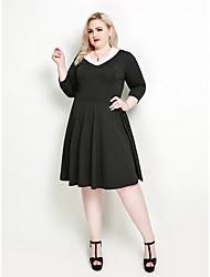 hesapli -Kadın's Tatil sofistike Zarif A Şekilli Little Black Çan Elbise - Solid Zıt Renkli V Yaka Diz-boyu