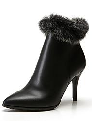 Недорогие -Жен. Кролик / Кожа Наступила зима Английский Ботинки На шпильке Ботинки Черный / Винный / Для вечеринки / ужина