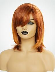 baratos -Perucas de cabelo capless do cabelo humano Cabelo Humano Natural Straight Corte Bob Riscas Naturais Ruivo Fabrico à Máquina Peruca Mulheres