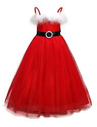 Недорогие -Дети Девочки Классический Рождество / Повседневные Однотонный Длинный рукав Хлопок / Полиэстер Платье Красный 100