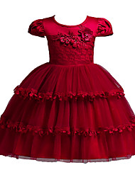 baratos -Infantil Para Meninas Doce Sólido Laço Manga Curta Poliéster Vestido Rosa 90