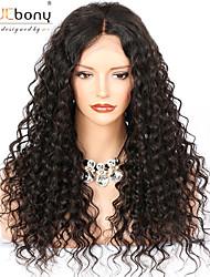 billiga -Remy-hår 360 Fasad Peruk Brasilianskt hår Loose Curl Peruk Deep Parting 150% 180% Hårtäthet med babyhår Bästa kvalitet Heta Försäljning Tjock med Clip Naturlig Dam Lång Äkta peruker med hätta WoWEbony