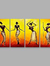 baratos -Pintura a Óleo Pintados à mão - Pessoas Modern Tela de pintura / 4 Painéis