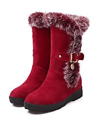 Недорогие -Жен. Замша Наступила зима Минимализм Ботинки На низком каблуке Круглый носок Сапоги до середины икры Черный / Винный