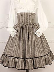 baratos -Doce Casual Lolita Dress Artistíco / Retro Doce Feminino Saia Cosplay Cinzento / Café Pontos Comprimento Longo Fantasias