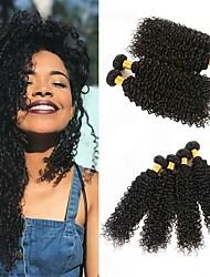 ieftine -4 pachete Păr Peruvian Kinky Curly 8A Păr Natural Neprocesat Umane tesaturi de par Atribut Îngrijire Păr Extensii 8-28 inch Culoare naturală Umane Țesăturile de par Viață Moale Clasic Umane extensii