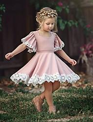 Недорогие -Дети (1-4 лет) Девочки Классический Повседневные Однотонный С короткими рукавами Платье Розовый