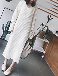 Недорогие -женский выход свободный свитер платье макси шеи