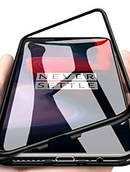 Недорогие -Кейс для Назначение OnePlus OnePlus 6 Защита от удара / Магнитный Кейс на заднюю панель Однотонный Твердый Закаленное стекло для OnePlus 6