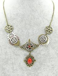 Недорогие -Жен. Синтетический рубин Винтажное ожерелье - Шестерня Классика, Steampunk Бронзовый 56+5 cm Ожерелье Бижутерия 1шт Назначение Вечеринка / ужин, Ночь и особый случай