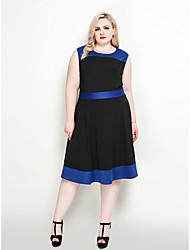 Недорогие -Жен. А-силуэт / С летящей юбкой Платье - Контрастных цветов До колена
