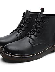 billige -Herre Fashion Boots Læder Efterår vinter Vintage / Britisk Støvler Hold Varm Støvletter Sort / Brun / Vin