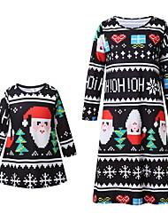 Недорогие -Мама и я Активный Рождество Повседневные Геометрический принт Длинный рукав Платье Черный