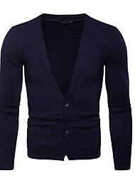 tanie -Męskie Wyjściowe / Weekend Podstawowy Solidne kolory Długi rękaw Regularny Sweter rozpinany Czarny / Granatowy / Szary L / XL / XXL