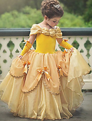 abordables -Princesse Belle Rétro Costume Fille Robes Costume de Soirée Violet / Jaune / Rose Vintage Cosplay Polyester Sans Manches Tee-shirt