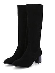 Недорогие -Жен. Полиуретан Осень Ботинки На толстом каблуке Закрытый мыс Сапоги до колена Черный / Серый / Желтый
