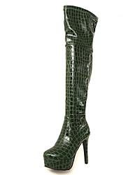Недорогие -Жен. Полиуретан Наступила зима Милая Ботинки На шпильке Круглый носок Сапоги выше колена Черный / Вино / Темно-зеленый / Для вечеринки / ужина