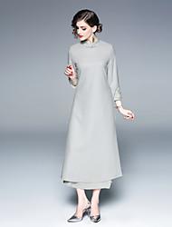 Недорогие -Жен. Винтаж / Шинуазери (китайский стиль) С летящей юбкой Платье - Однотонный, Пэчворк / Вышивка Средней длины