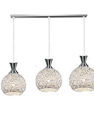 baratos -3-luz Esfera Luzes Pingente Luz Descendente Escovado Metal Vidro LED Lâmpada Incluída / E26 / E27