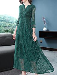 Недорогие -Жен. Элегантный стиль Обтягивающие Брюки - Однотонный Зеленый / V-образный вырез / Праздники