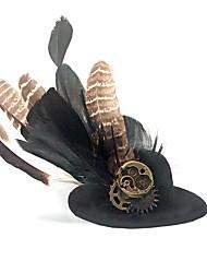 Недорогие -Косплей Доктор чумы Steampunk Костюм Жен. Шапки шляпа Черный Винтаж Косплей Перья Плюшевая ткань