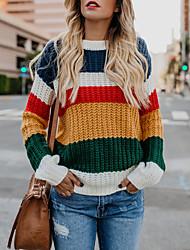 billige -Dame Daglig Basale Patchwork Farveblok Langærmet Normal Pullover, Rund hals Vinter Regnbue M / L / XL
