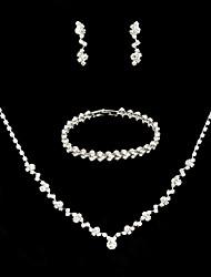 Недорогие -Жен. Свадебные комплекты ювелирных изделий Классический В форме листа Милая Элегантный стиль Серьги Бижутерия Белый Назначение Свадьба Для вечеринок 1 комплект